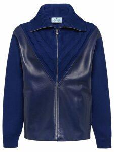 Prada leather panel cardigan - Blue