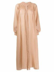 Maison Flaneur button poplin dress - Neutrals