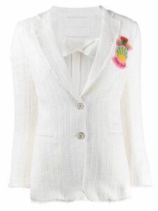 Giada Benincasa patch embellished tweed blazer - White