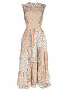 Chloé Patchwork printed midi dress - Neutrals