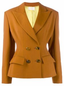 Sara Battaglia cinched double-breasted blazer - Orange