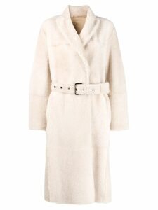 Brunello Cucinelli shearling trench coat - Neutrals