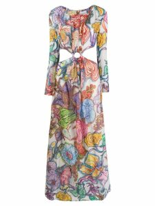 Daizy Shely expressionist floral printed maxi dress - Purple