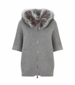 Fur Hooded Zip Cardigan