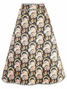 Oscar de la Renta floral print a-line skirt - Black