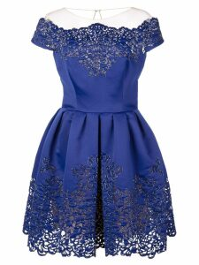 Marchesa scalloped pattern dress - Blue