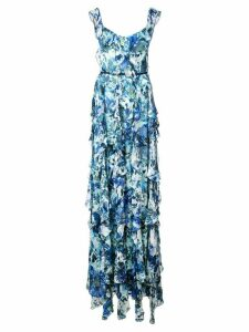 Marchesa Notte long sleeveless ruffle dress - Blue