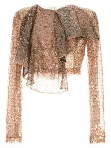 Walk Of Shame cropped sequined top - Brown
