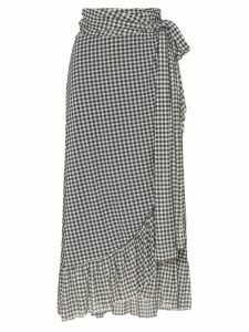 Ganni asymmetric gingham midi skirt - Black