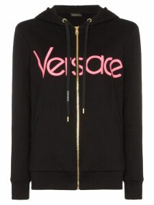 Versace logo-embroidered zip-up hoodie - Black