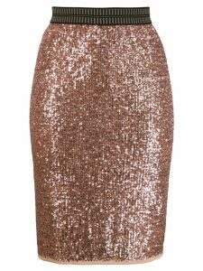 Luisa Cerano sequin embroidered fitted skirt - Pink
