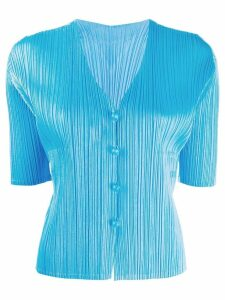 Pleats Please Issey Miyake short-sleeved pleated cardigan - Blue