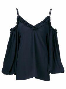 Stella McCartney ruffled cold shoulder blouse - Blue