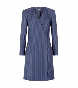 Wool Pinstripe Blazer Dress