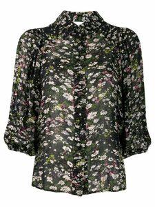 Ganni floral print sheer shirt - Black