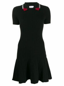 Red Valentino heart collar polo dress - Black