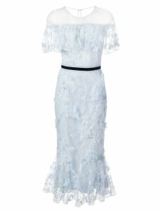 Marchesa Notte embroidered floral dress - Blue