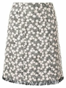 Giambattista Valli floral appliqué tweed midi skirt - Black