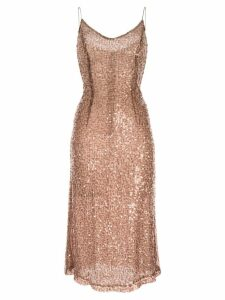 Walk Of Shame sequined midi dress - Brown
