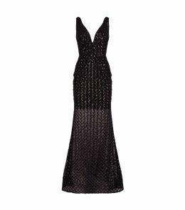 Lattice Sequin Gown
