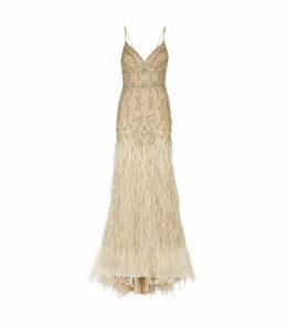 Crystal-Embellished Feather Gown