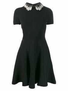 Valentino sequin embroidered collar dress - Black