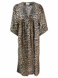 Ganni leopard print loose fit dress - Black