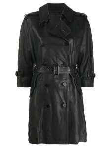 R13 leather trench coat - Black