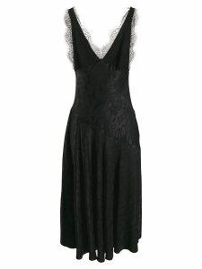 Alexa Chung damask satin slip dress - Black