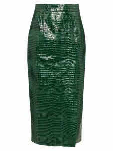 Aleksandre Akhalkatsishvili crocodile effect midi skirt - Green