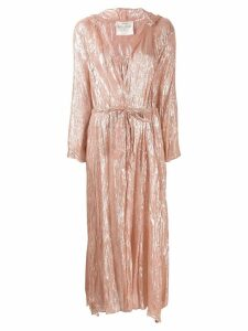 Forte Forte lurex hooded maxi coat - Pink