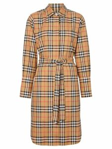 Burberry Vintage Check Cotton Tie-waist Shirt Dress - Neutrals