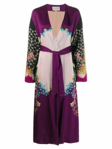Etro floral print contrast belted coat - Purple
