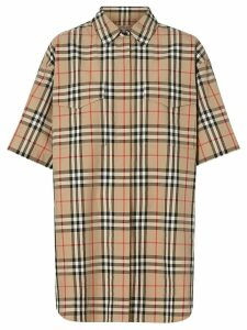 Burberry Short-sleeve Vintage Check Cotton Oversized Shirt - Neutrals