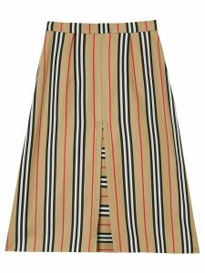Burberry Box Pleat Detail Icon Stripe A-line Skirt - Brown