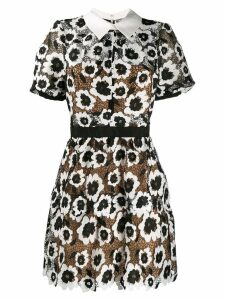 Self-Portrait floral appliqué collared mini dress - Black
