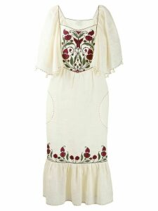 Sleeping Gypsy embroidered front dress - Neutrals