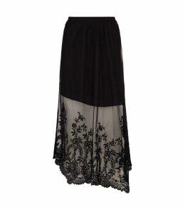 Lali Ebony Embroidered Hem Skirt
