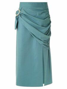 Framed midi buckle skirt - Blue