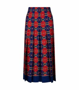 Silk Logo Pleated Midi Skirt