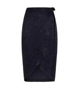 Allexxi Leopard Wrap Midi Skirt