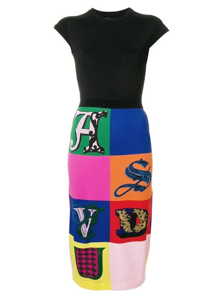 Versace Alphabet print pencil skirt - Black