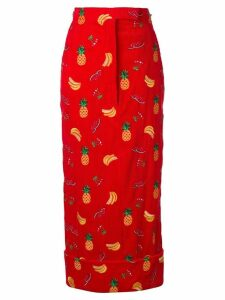 Thom Browne Fruit Embroidery Corduroy Sack Skirt - Red