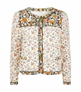 Quilted Floral Print Blazer