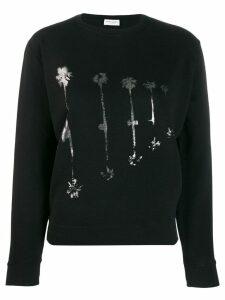Saint Laurent palm tree print sweatshirt - Black