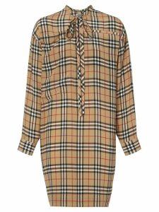Burberry Vintage Check Silk Tie-neck Dress - Brown