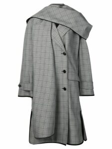 Nina Ricci asymmetric plaid trench coat - Grey