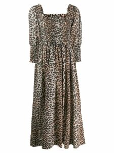 Ganni leopard print maxi dress - Black