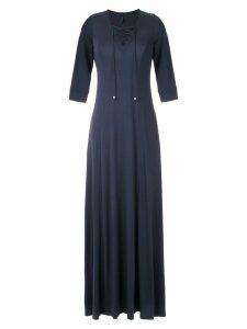 Lygia & Nanny lace-up detail dress - Blue