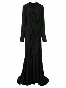 Vera Wang crepe wrap gown - Black